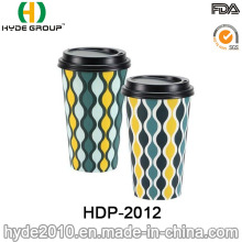 Xícara de café quente descartáveis de papel promocional com tampa (HDP-2012)