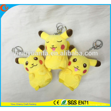 Charming Style High Quality Yellow Pikachu Doll Cute 4 Inches Pokemon Go Plush Keychain