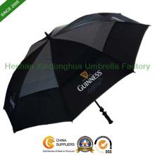 Schwarz belüftet winddicht Golfschirm für Werbung (GOL-0027FD)