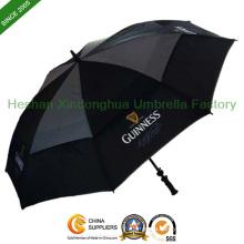 Black Vented Windproof Golf Umbrella for Advertising (GOL-0027FD)