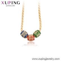 44948 Xuping alta qualidade 18k banhado a ouro colares de moda colorida