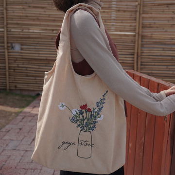Flowers Embroidery patch Cloth Handbag Tote Shopping Bags