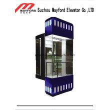 Auto-Glaskabinen-panoramischer Aufzug mit dekorativer heller Stange