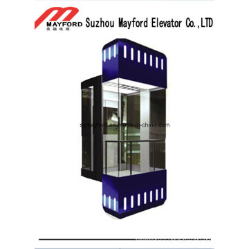 Auto Glass Cabin Panoramic Elevator with Decorative Light Bar