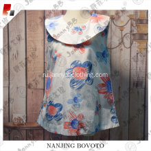 Hotsale lawn greek printflower and leaf dress