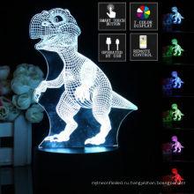 3D динозавр СИД 7 изменение цвета Сенсорный Выключатель + пульт дистанционного управления ночь свет лампы