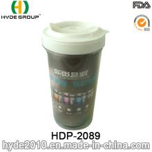 Taza de café de pared doble de plástico 300ml con foto insertada (HDP-2089)