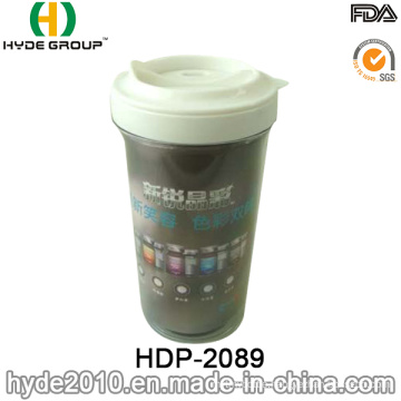 300ml Plastic Double Wall Coffee Mug with Inserted Photo (HDP-2089)