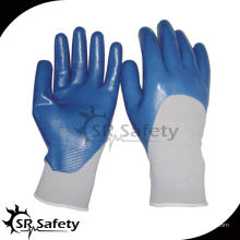 SRSAFETY 13G трикотажный нейлон 3/4 нитриловые погружные перчатки / рабочая нитриловая перчатка / синие нитриловые перчатки