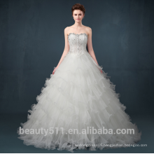 Lace appliqued strapless Off-The-Shoulder wholesale bridal dress Fan pleats wedding dress TS303