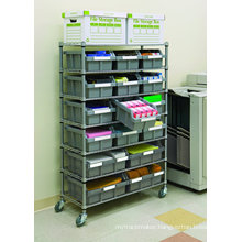 NSF Adjustable Metal Drugstore Pharmacy Wire Shelf Rack with Wheels