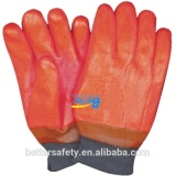 Cotton Foam Warm Lined Fluorescent Orange Color PVC Sandy Fully Dipped Chemical Resistant Rigger Gloves