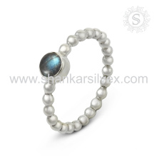 New Aristocratic Handmade Labradorite Gemstone Silver Ring atacado 925 Sterling Silver Jewelry Online Jóias De Prata