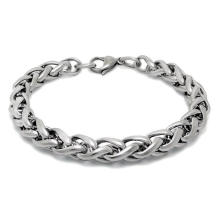 Men Cuban Bracelets Silver Black Stainless Steel Body Jewelry