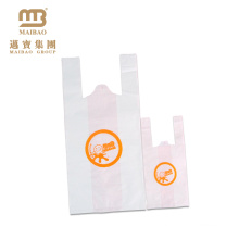 Green materials durable free sample plastic t-shirt bag for milk tea shop