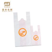Verde materiais duráveis amostra grátis de plástico t-shirt saco para loja de chá de leite