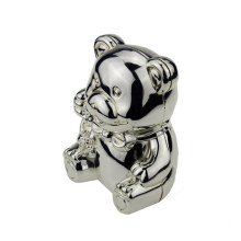 zinc alloy silver bear shape coin bank