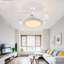 Europe Style Modern Dinning Room Silver Crystal Led Ceiling Fan