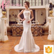Suzhou fábrica de encajes apliques sirena barata a medida más vestido de novia de tamaño
