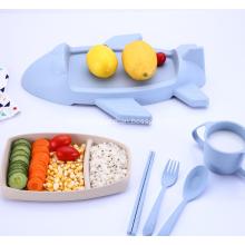 Airplane Shape Wheat Straw Tableware Set