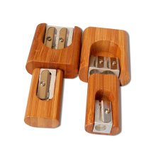 Mini Pencil Sharpener with Bamboo Material for School