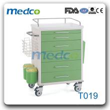 Chariot T019 à prix bon marché Chariot médical en chariot ABS