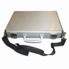 Silvery Flat Aluminum Laptop and Document Case with Shoulder Strap