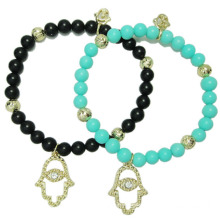 Handmade Women Jewelry Beaded Hamsa Hand Bracelet Pendant