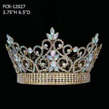 Full Round Beauty Queen Gold Pageant Crowns