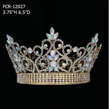 Coronas del desfile de oro de la reina de la belleza completa y redonda