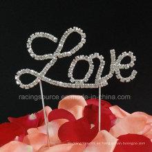 Toalla de cristal de la torta de la boda del Rhinestone de la torta de la letra de amor para la torta