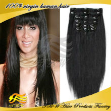 Easy to add jet black silky straight double weft clip in hair extension for black women