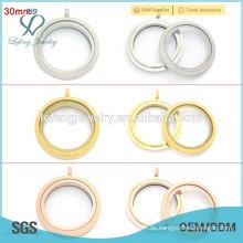 30mm runde matte Farbe Twist Schraube Edelstahl schwimmende Charme lockets Großhandel, Gold Locket Designs