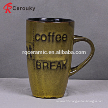 Reactive glaze two tone color vintage tall ceramic milk mug