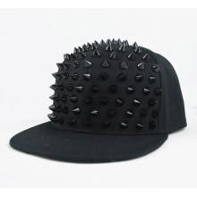 Factory handmade flat brim rivet hat snapback cap