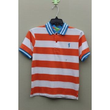 Boy's 100% Cotton Yarn Dyed Polo with Golf Logo Embroidery
