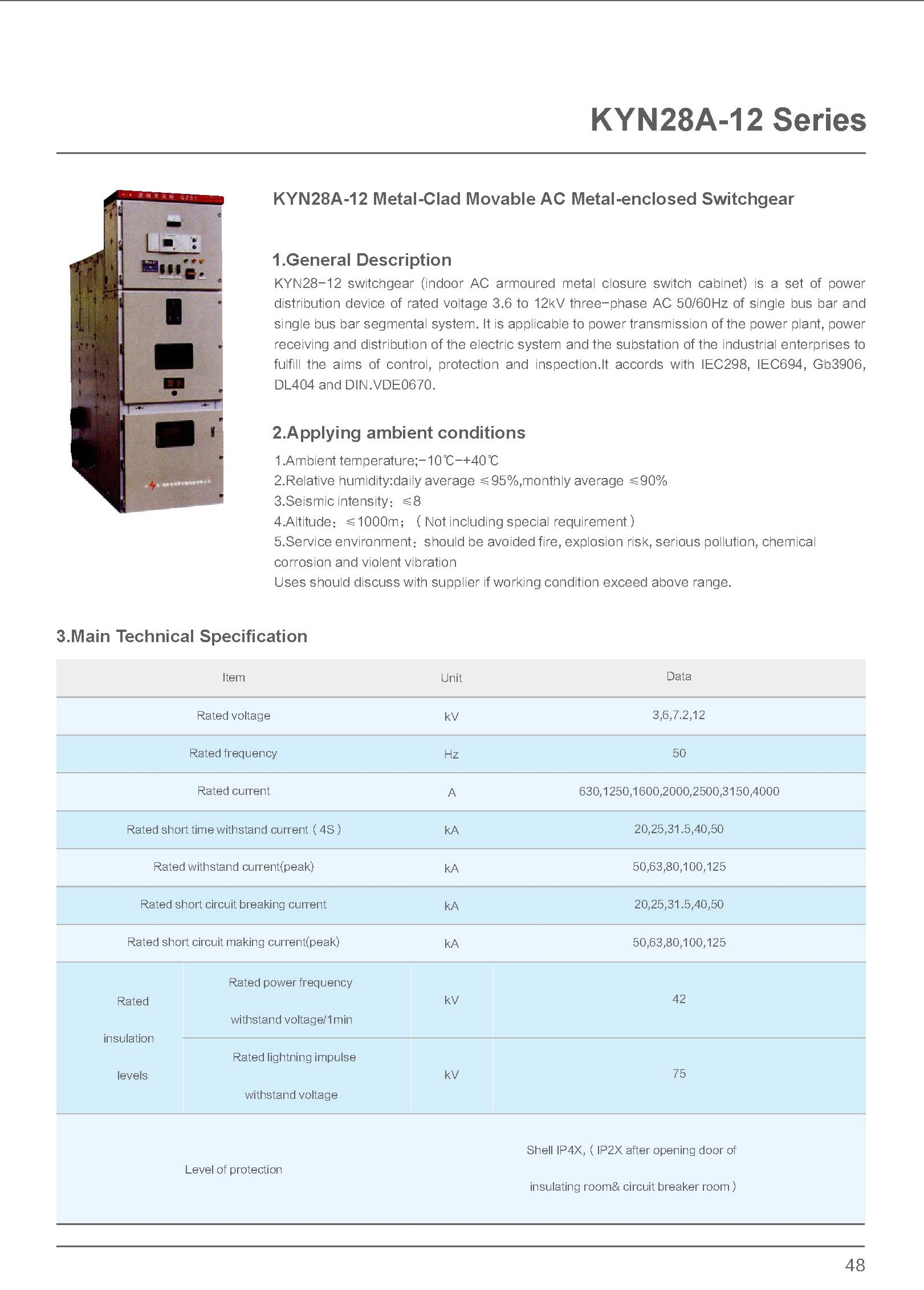12kV Switchgear Technical Specification