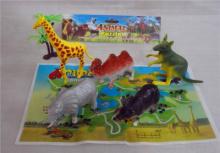 Набор пластиковых животных с картой как зоопарк 5шт