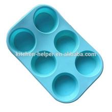FDA Easy Washing Food Grade Silikon 6Cup Muffin Cupcake Cake Liners Backen Pan Eisform Silikon Flexible Backen Muffin Pan