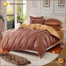 Venta al por mayor de algodón de cama funda de edredón de color sólido juego de ropa de cama