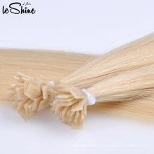 Extensiones de cabello humano con punta plana de Keratina Remy 1g cada filamento