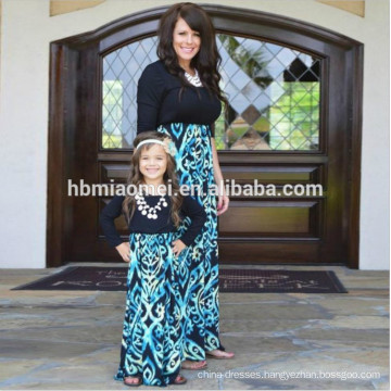 2017 new fashion long seelve family matching clothing mommy and me outfits dresses Mother Daughter matching Dresses