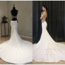 Réel Satin Perles Robes De Soirée De Sirène Robe De Soirée De Mariage