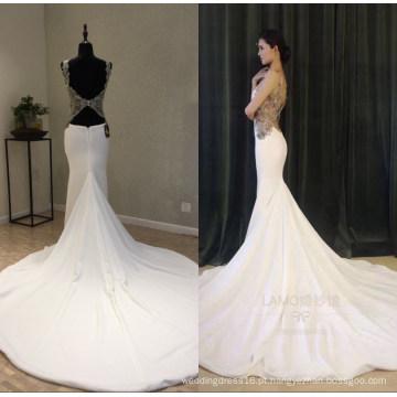 Real Satin Beading Sereia Vestidos De Noite Vestido De Noiva Vestido De Noite