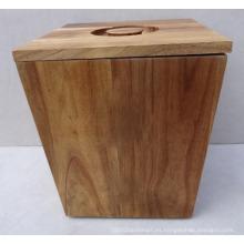 Barriles de madera de acacia natural de primera calidad, cubo de almacenamiento de arroz de madera