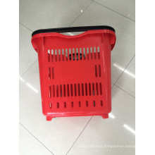 Grocery Plastic Shopping Hand Basket with Two Wheels