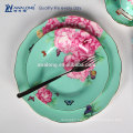green flowers royal design ceramic dinnerware porcelain plates and cup