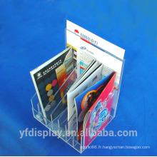 Support acrylique de magazine / affichage acrylique de dossier / organisateur acrylique de littérature