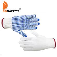 Bulk Custom Logo Design Polka Blue Nylon Knitted with Palm PVC Dotted Garden Work Hand Gloves Price