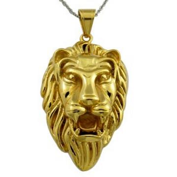 Ouro pingente homens quente venda ouro banhado colar de leão 18k